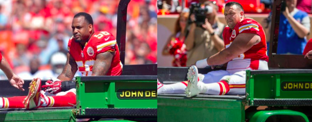 I think they both knew their seasons were over, judging by their similar reactions…but at least they got to ride on the John Deere medical cart! I would be excited, don't know what's wrong with these guys.