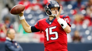 Nov 2, 2014; Houston, TX, USA; Houston Texans quarterback Ryan Mallett (15) warms up before the game against the Philadelphia Eagles at NRG Stadium. Mandatory Credit: Kevin Jairaj-USA TODAY Sports
