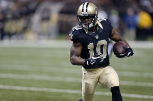 New Orleans Saints wide receiver Brandin Cooks (10) carries on a pass play in the first half of an NFL football game against the Cincinnati Bengals in New Orleans, Sunday, Nov. 16, 2014. (AP Photo/Rogelio Solis) ORG XMIT: NYOTK